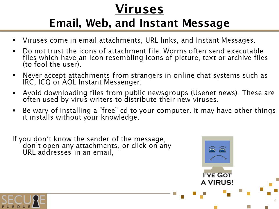 9 Viruses  , Web, and Instant Message  Viruses come in  attachments, URL links, and Instant Messages.
