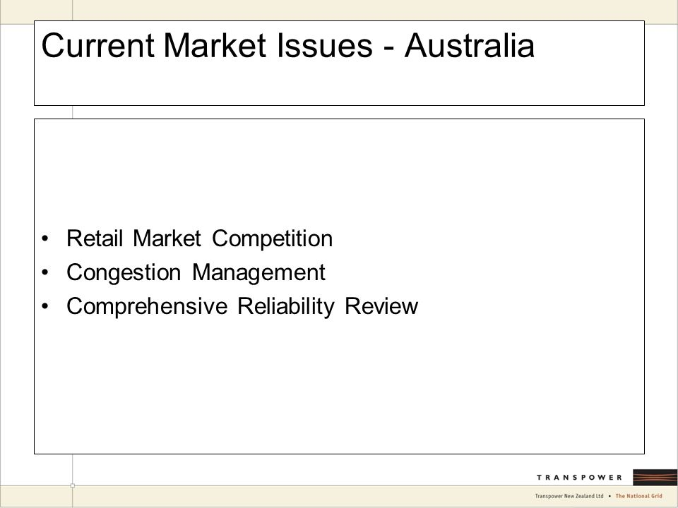 Current Market Issues - Australia Retail Market Competition Congestion Management Comprehensive Reliability Review