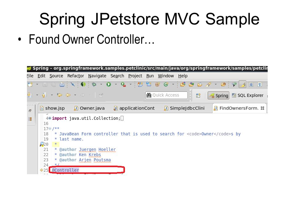 Spring JPetstore MVC Sample Found Owner Controller…