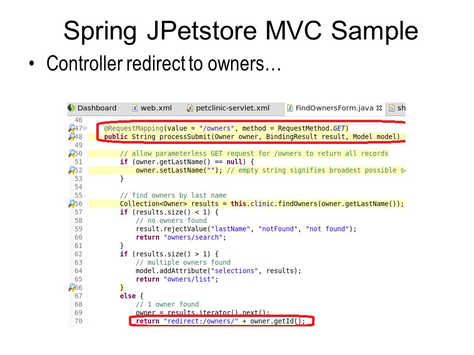 Spring JPetstore MVC Sample Controller redirect to owners…
