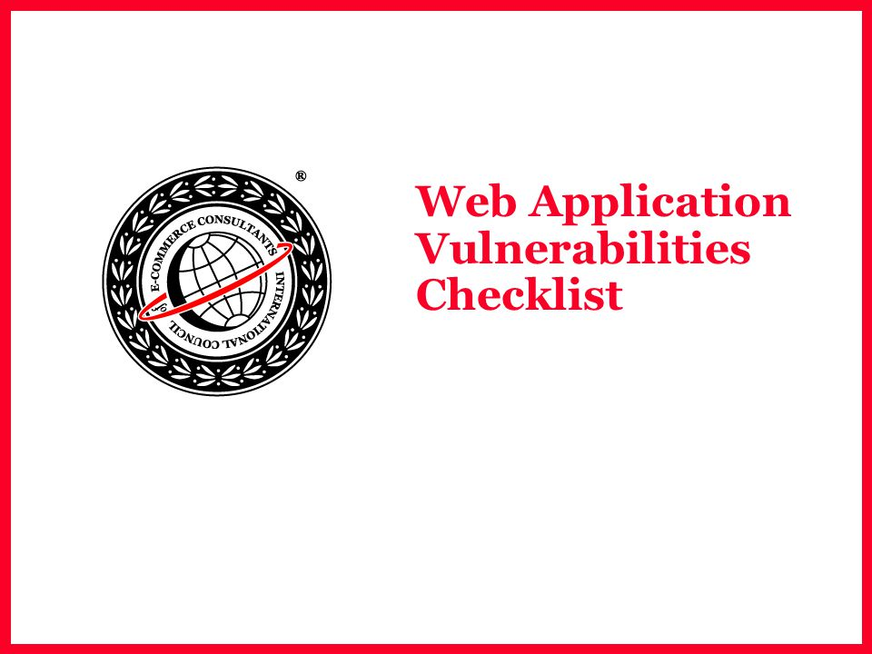 Web Application Vulnerabilities Checklist