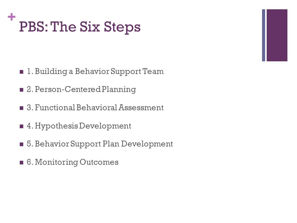 + PBS: The Six Steps 1. Building a Behavior Support Team 2.