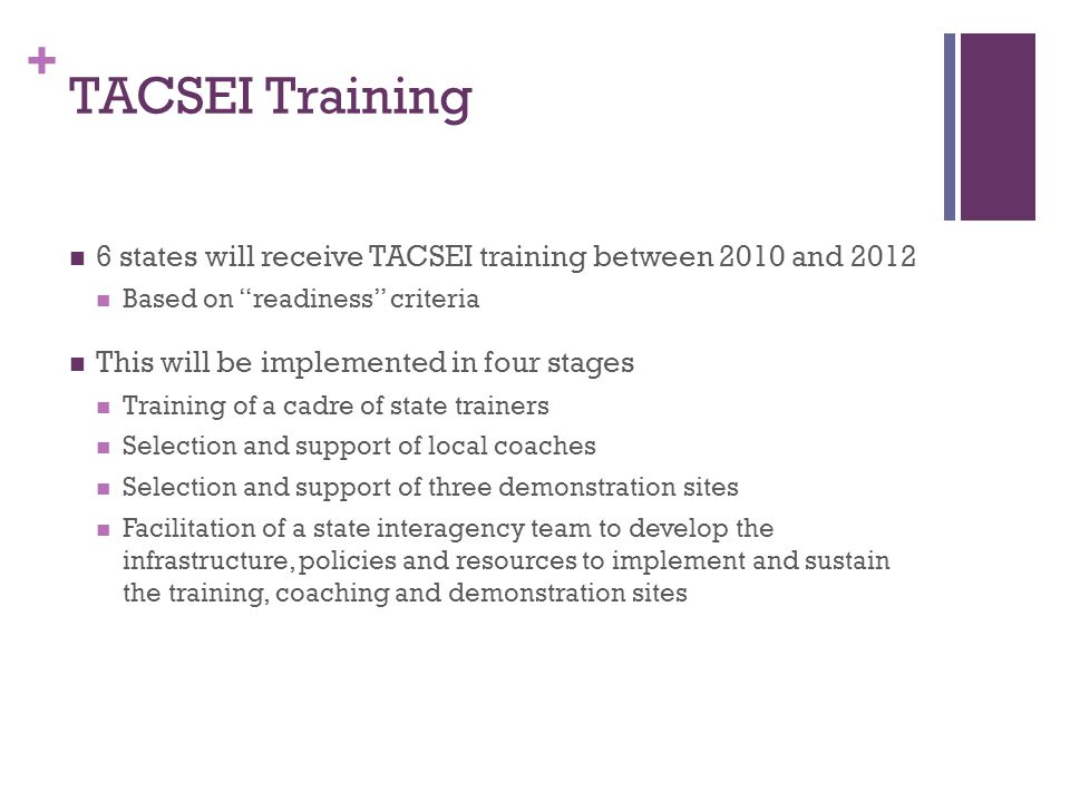 + TACSEI Training 6 states will receive TACSEI training between 2010 and 2012 Based on readiness criteria This will be implemented in four stages Training of a cadre of state trainers Selection and support of local coaches Selection and support of three demonstration sites Facilitation of a state interagency team to develop the infrastructure, policies and resources to implement and sustain the training, coaching and demonstration sites