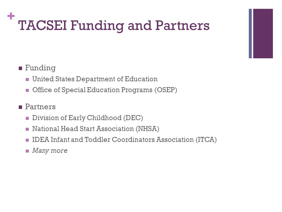 + TACSEI Funding and Partners Funding United States Department of Education Office of Special Education Programs (OSEP) Partners Division of Early Childhood (DEC) National Head Start Association (NHSA) IDEA Infant and Toddler Coordinators Association (ITCA) Many more