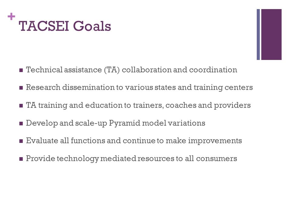 + TACSEI Goals Technical assistance (TA) collaboration and coordination Research dissemination to various states and training centers TA training and education to trainers, coaches and providers Develop and scale-up Pyramid model variations Evaluate all functions and continue to make improvements Provide technology mediated resources to all consumers
