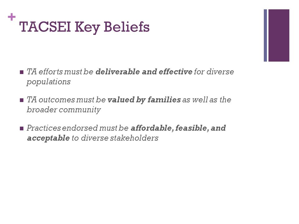 + TACSEI Key Beliefs TA efforts must be deliverable and effective for diverse populations TA outcomes must be valued by families as well as the broader community Practices endorsed must be affordable, feasible, and acceptable to diverse stakeholders