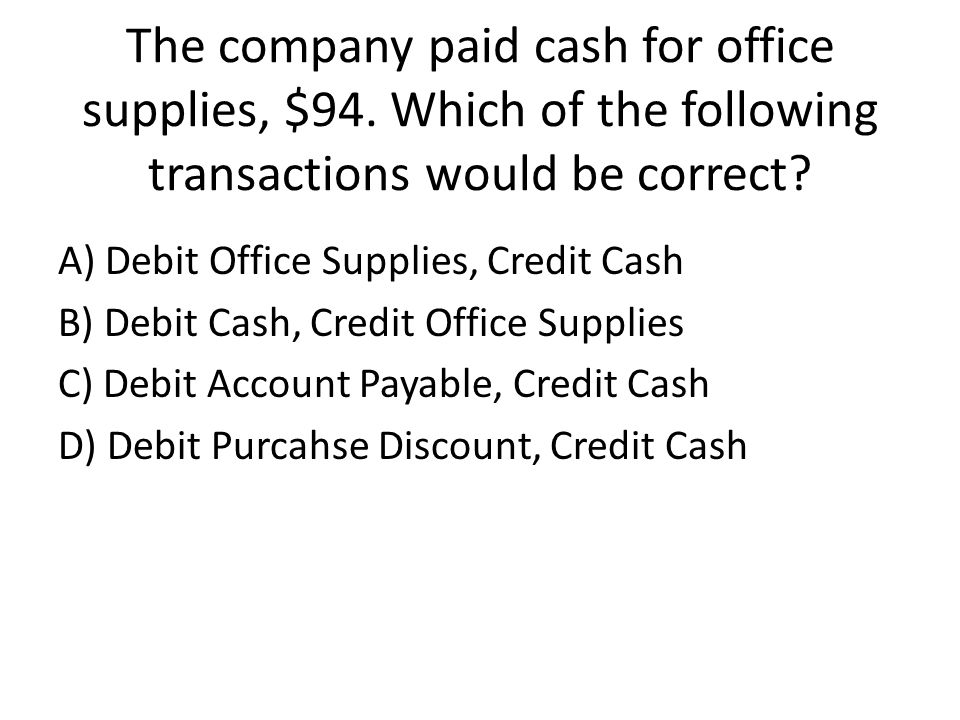 The company paid cash for office supplies, $94.