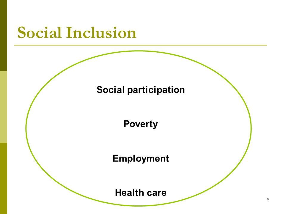 4 Social Inclusion Social participation Poverty Employment Health care