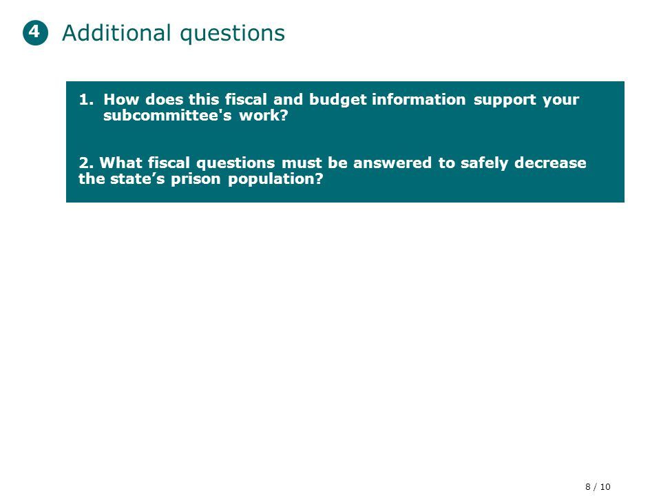 C 1.How does this fiscal and budget information support your subcommittee s work.