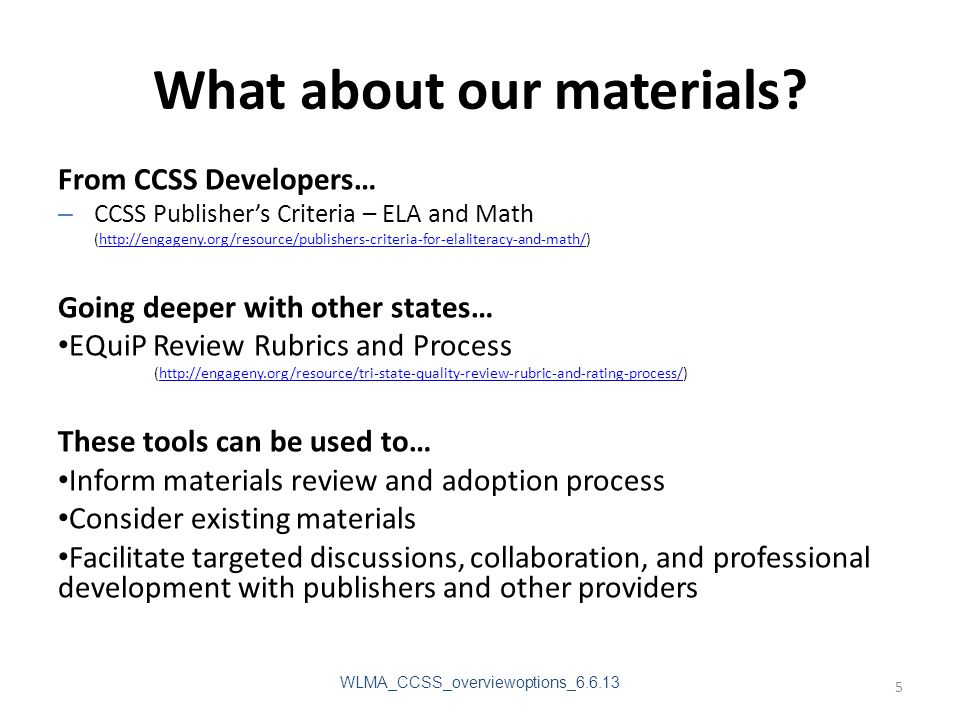 What about our materials.