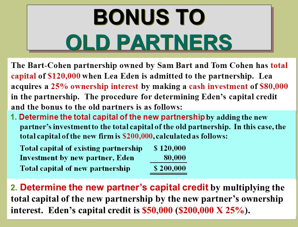 BONUS TO OLD PARTNERS The Bart-Cohen partnership owned by Sam Bart and Tom Cohen has total capital of $120,000 when Lea Eden is admitted to the partnership.