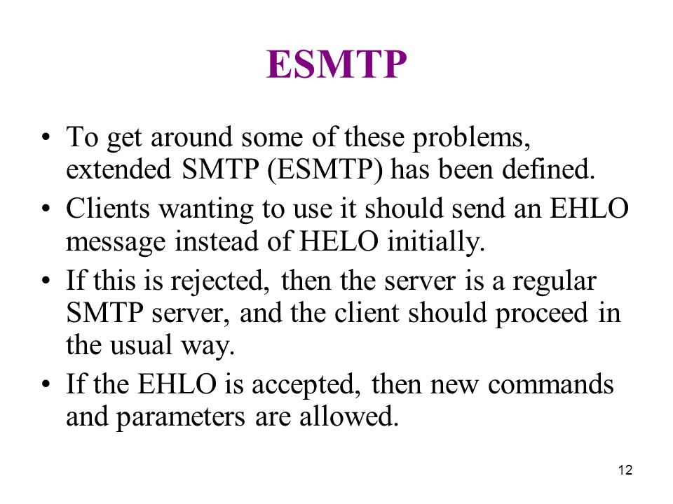 12 ESMTP To get around some of these problems, extended SMTP (ESMTP) has been defined.