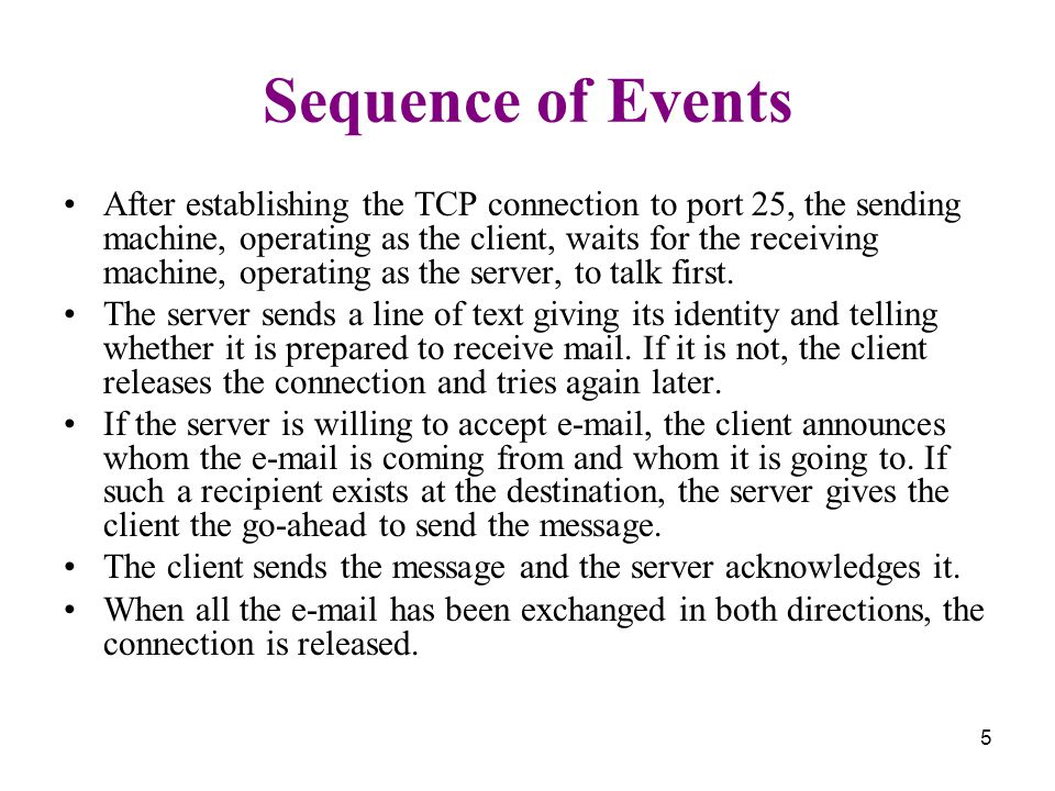 5 Sequence of Events After establishing the TCP connection to port 25, the sending machine, operating as the client, waits for the receiving machine, operating as the server, to talk first.