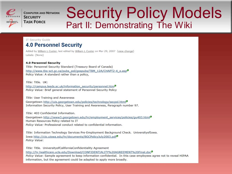 Security Policy Resources And Models Educause Security Conference