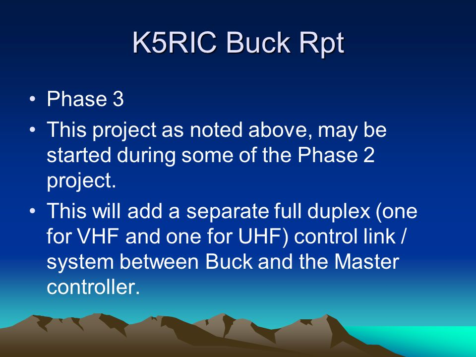 K5RIC Buck Rpt Phase 3 This project as noted above, may be started during some of the Phase 2 project.