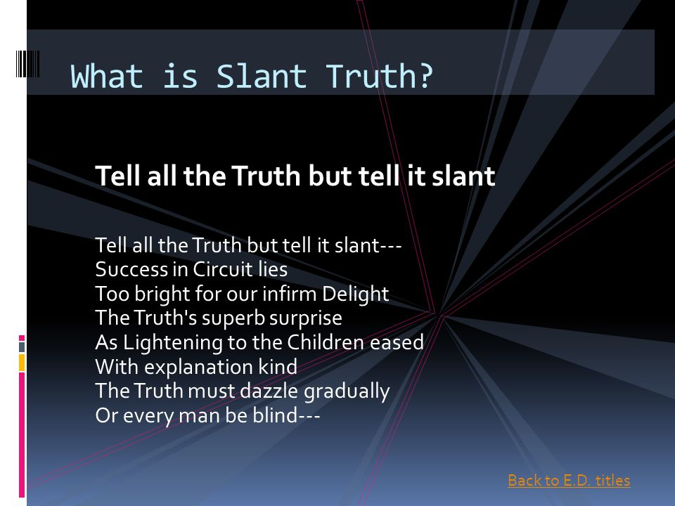 tell all the truth but tell it slant analysis