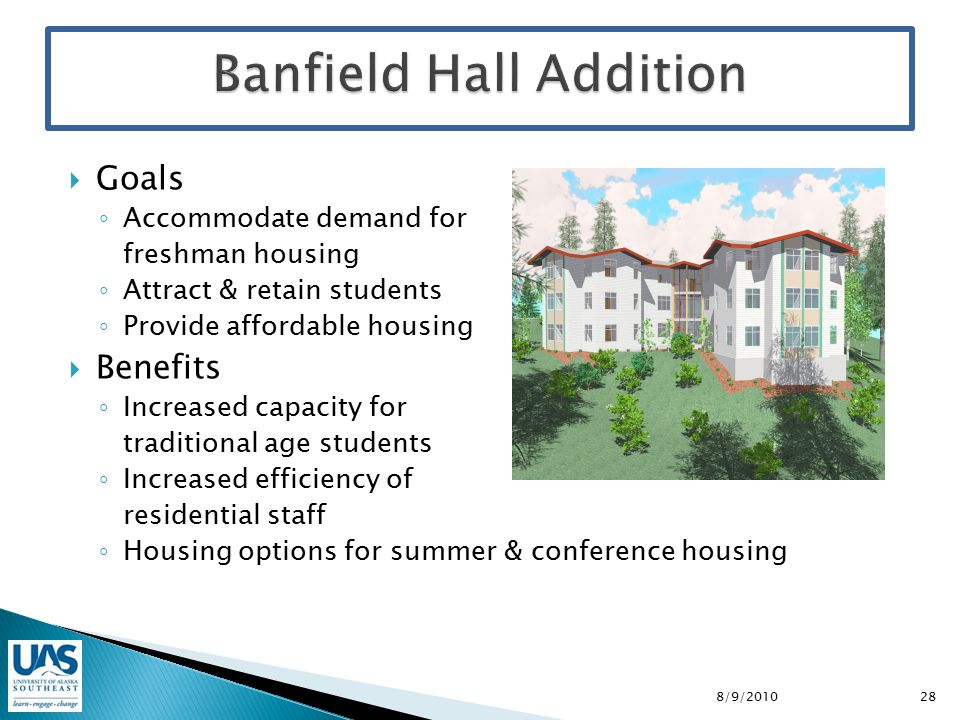  Goals ◦ Accommodate demand for freshman housing ◦ Attract & retain students ◦ Provide affordable housing  Benefits ◦ Increased capacity for traditional age students ◦ Increased efficiency of residential staff ◦ Housing options for summer & conference housing 8/9/201028