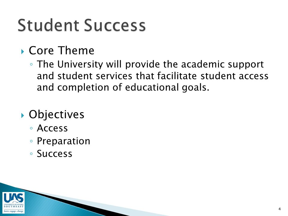  Core Theme ◦ The University will provide the academic support and student services that facilitate student access and completion of educational goals.