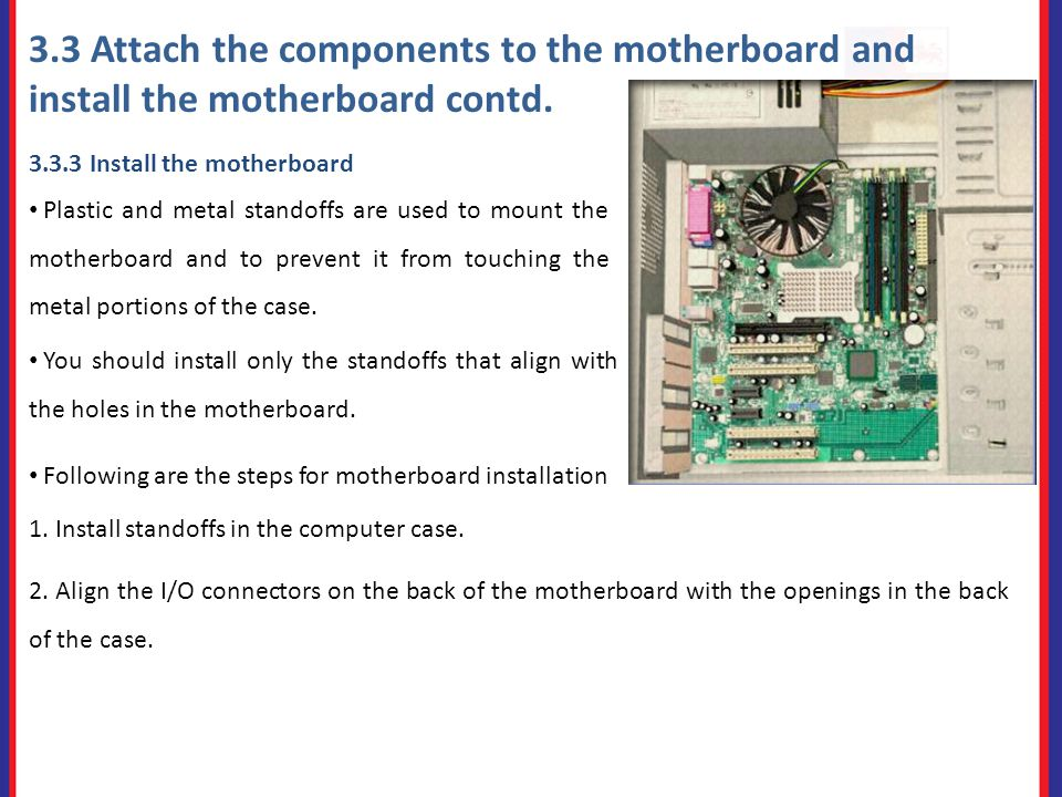 3.3 Attach the components to the motherboard and install the motherboard contd.