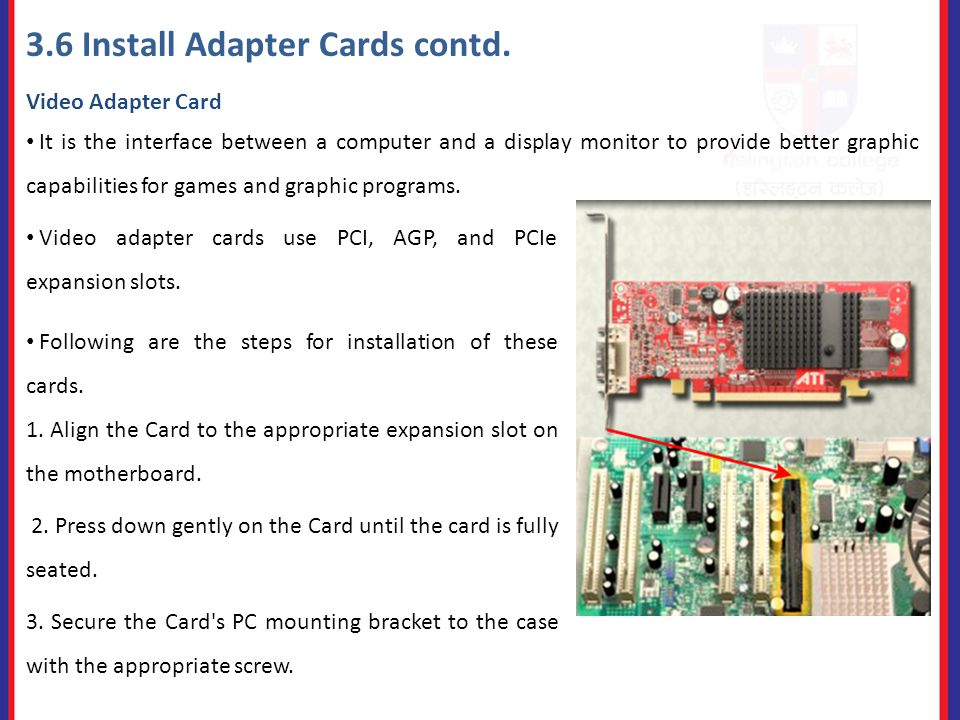 3.6 Install Adapter Cards contd.