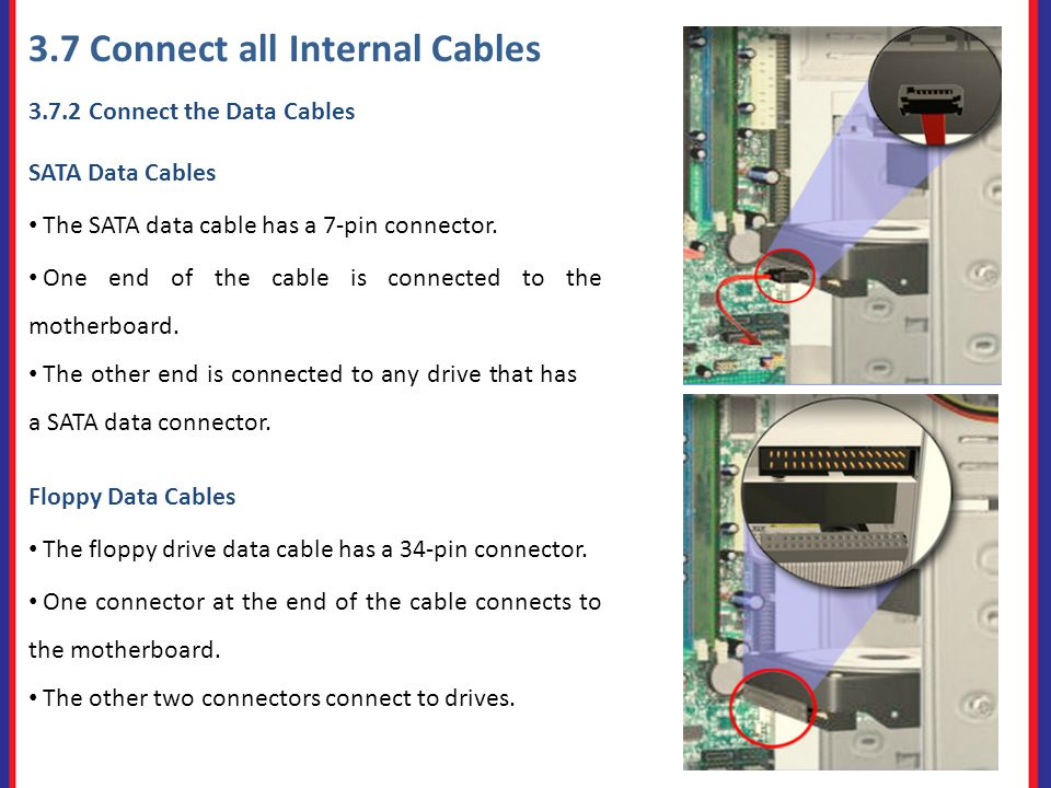 3.7 Connect all Internal Cables Connect the Data Cables SATA Data Cables The SATA data cable has a 7-pin connector.