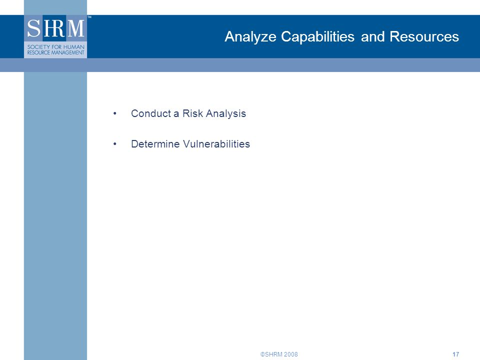 ©SHRM Analyze Capabilities and Resources Conduct a Risk Analysis Determine Vulnerabilities