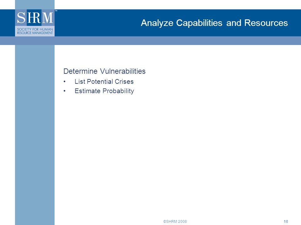 ©SHRM Analyze Capabilities and Resources Determine Vulnerabilities List Potential Crises Estimate Probability