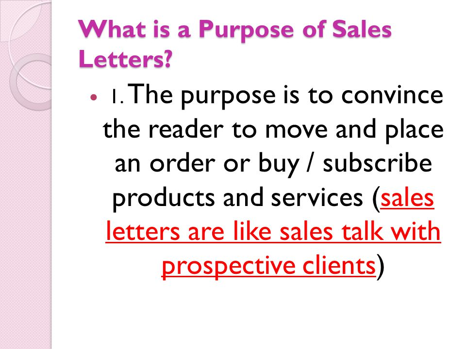 Sales Letter Ms Debs F Dianco What Is A Sales Letter It Is A