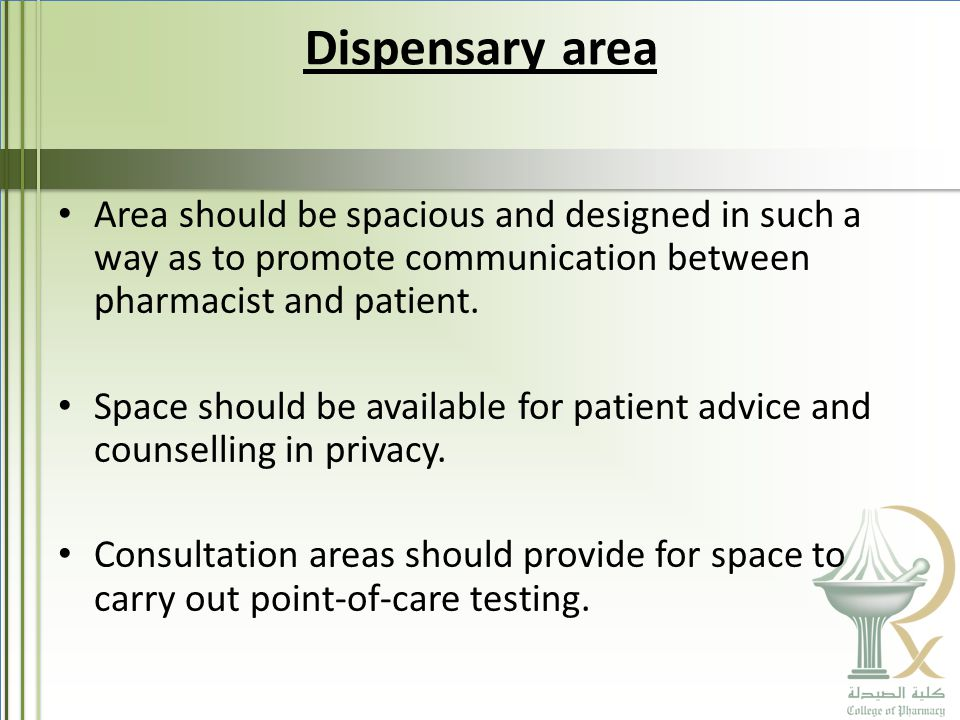 Dispensary area Area should be spacious and designed in such a way as to promote communication between pharmacist and patient.