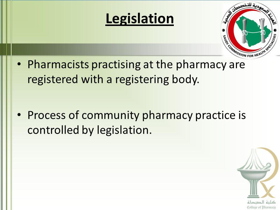 Legislation Pharmacists practising at the pharmacy are registered with a registering body.