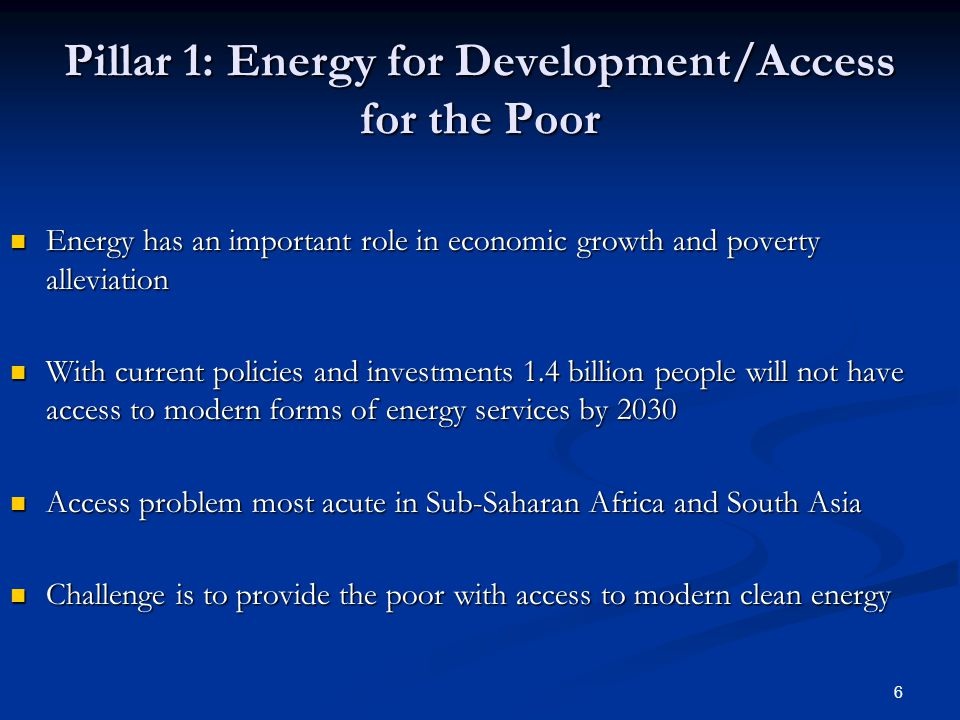 6 Pillar 1: Energy for Development/Access for the Poor Energy has an important role in economic growth and poverty alleviation Energy has an important role in economic growth and poverty alleviation With current policies and investments 1.4 billion people will not have access to modern forms of energy services by 2030 With current policies and investments 1.4 billion people will not have access to modern forms of energy services by 2030 Access problem most acute in Sub-Saharan Africa and South Asia Access problem most acute in Sub-Saharan Africa and South Asia Challenge is to provide the poor with access to modern clean energy Challenge is to provide the poor with access to modern clean energy