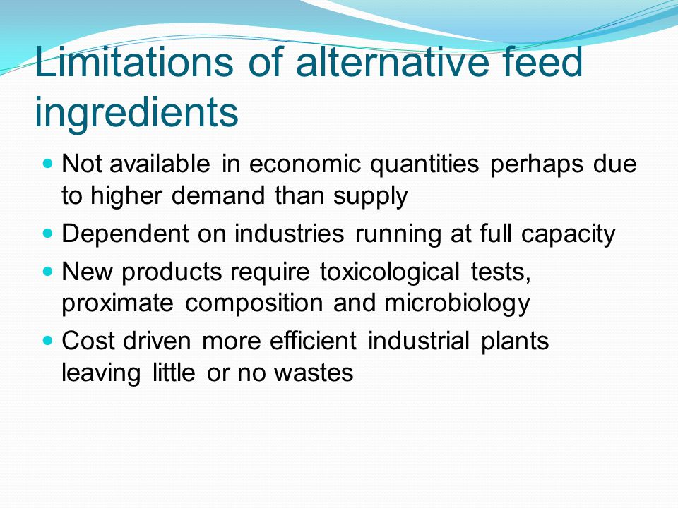 Alternative feed ingredients for animals Outcomes: Describe world
