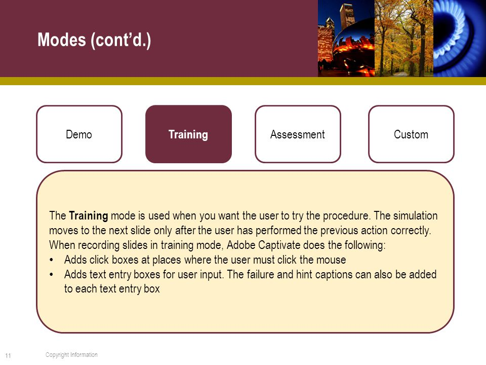 Modes (cont'd.) 11 Copyright Information Demo Training AssessmentCustom The Training mode is used when you want the user to try the procedure.