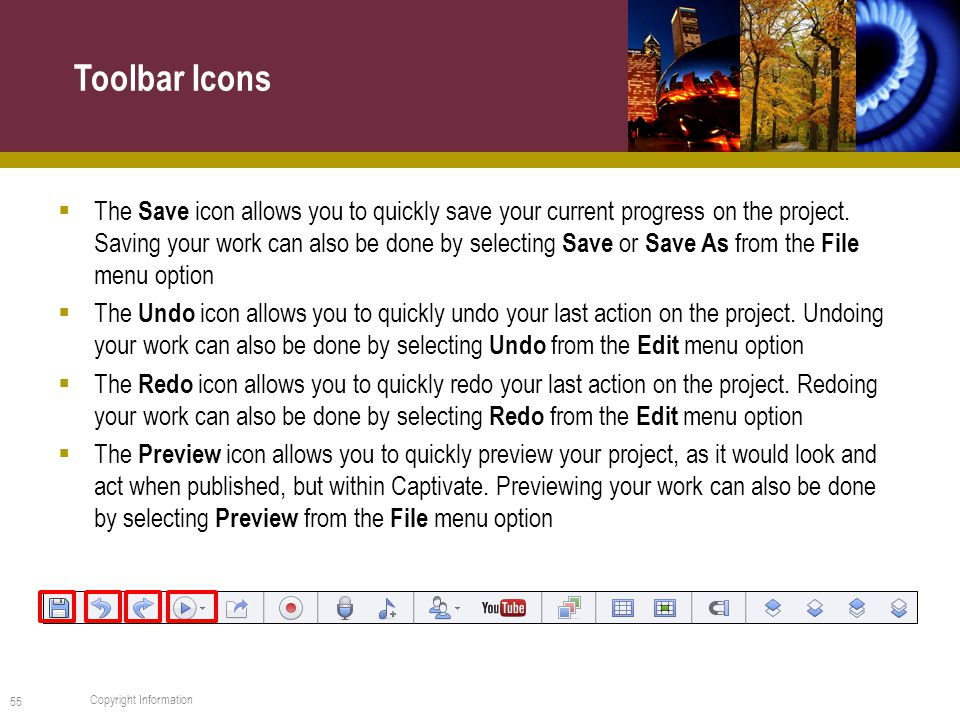  The Save icon allows you to quickly save your current progress on the project.