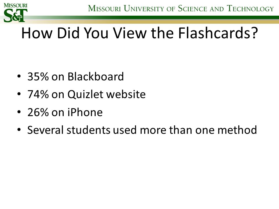 Evaluation of Electronic Flashcards as a Tool to Improve Exam