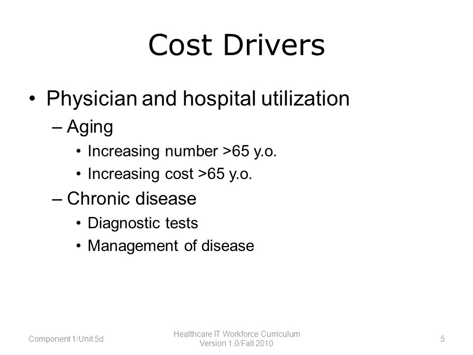 Cost Drivers Physician and hospital utilization –Aging Increasing number >65 y.o.