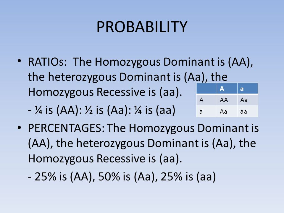 PROBABILITY RATIOs: The Homozygous Dominant is (AA), the heterozygous Dominant is (Aa), the Homozygous Recessive is (aa).