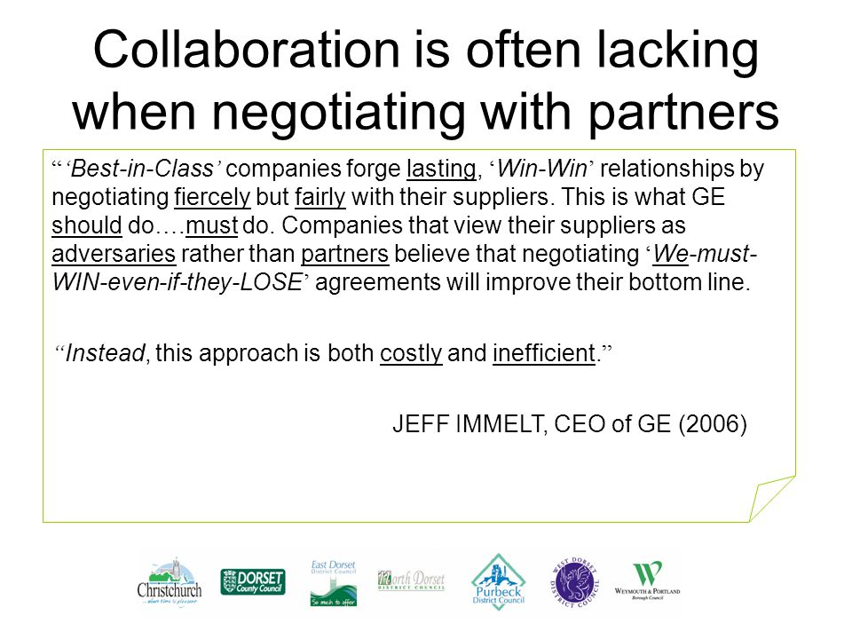 Collaboration is often lacking when negotiating with partners ' Best-in-Class ' companies forge lasting, ' Win-Win ' relationships by negotiating fiercely but fairly with their suppliers.
