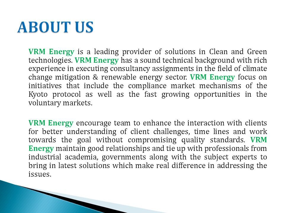 VRM Energy is a leading provider of solutions in Clean and Green technologies.