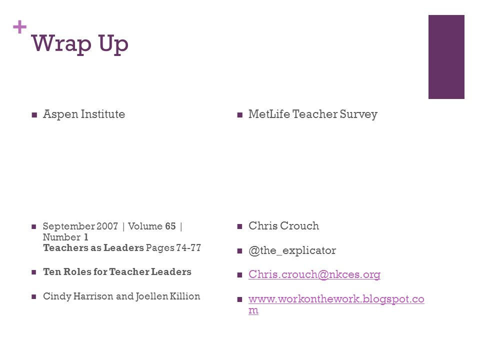 + Wrap Up Aspen Institute September 2007 | Volume 65 | Number 1 Teachers as Leaders Pages Ten Roles for Teacher Leaders Cindy Harrison and Joellen Killion MetLife Teacher Survey Chris   m   m