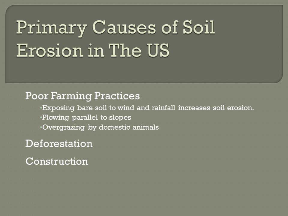 Poor Farming Practices Exposing bare soil to wind and rainfall increases soil erosion.