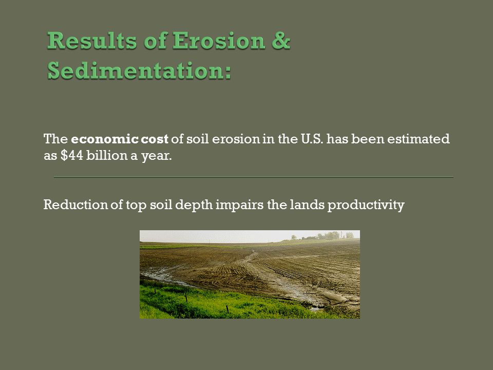 The economic cost of soil erosion in the U.S. has been estimated as $44 billion a year.
