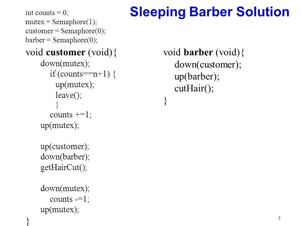 sleeping barber problem geeksforgeeks