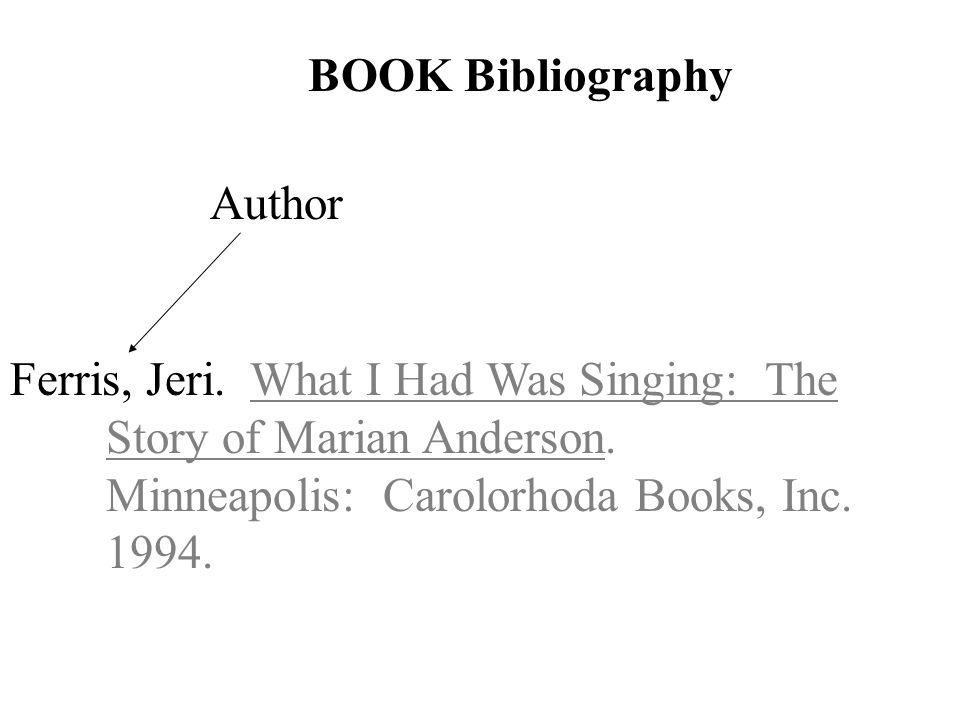 Author BOOK Bibliography