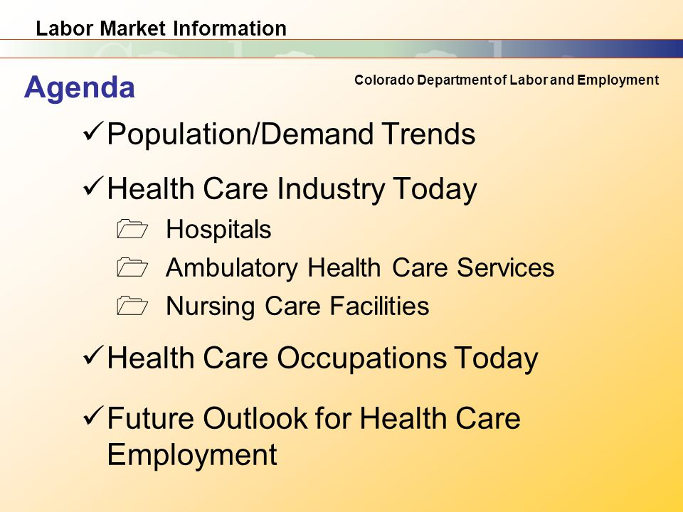 Labor Market Information Colorado Department of Labor and Employment Population/Demand Trends Health Care Industry Today  Hospitals  Ambulatory Health Care Services  Nursing Care Facilities Health Care Occupations Today Future Outlook for Health Care Employment Agenda
