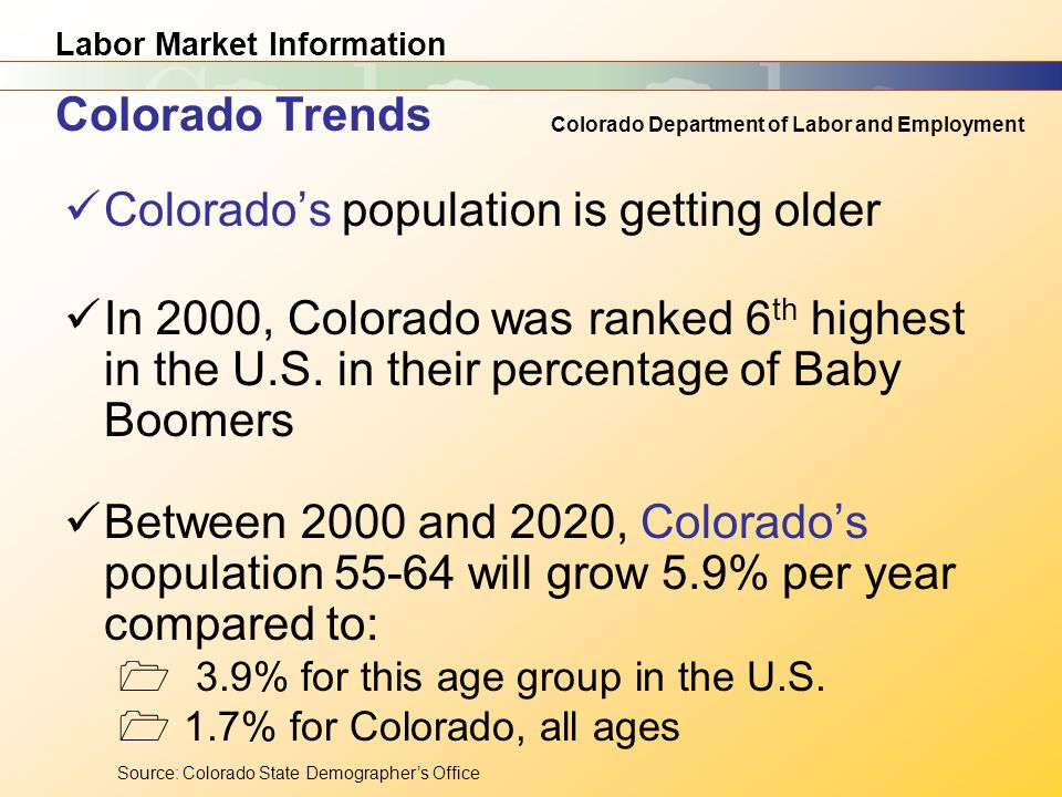 Labor Market Information Colorado Department of Labor and Employment Colorado's population is getting older In 2000, Colorado was ranked 6 th highest in the U.S.