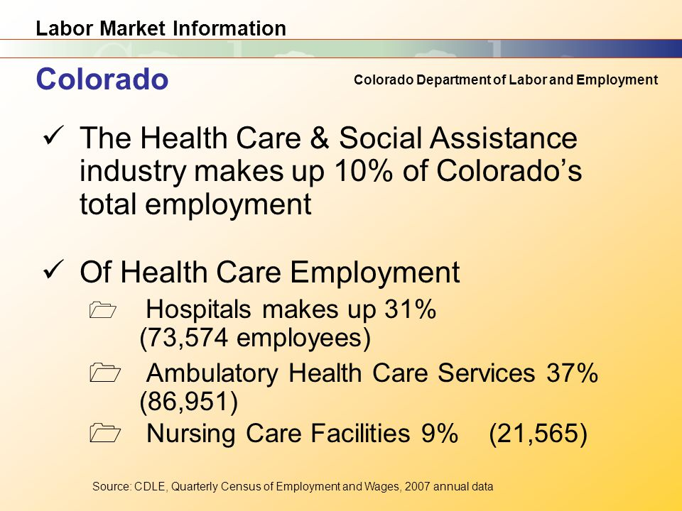 Labor Market Information Colorado Department of Labor and Employment The Health Care & Social Assistance industry makes up 10% of Colorado's total employment Of Health Care Employment  Hospitals makes up 31% (73,574 employees)  Ambulatory Health Care Services 37% (86,951)  Nursing Care Facilities 9% (21,565) Source: CDLE, Quarterly Census of Employment and Wages, 2007 annual data Colorado
