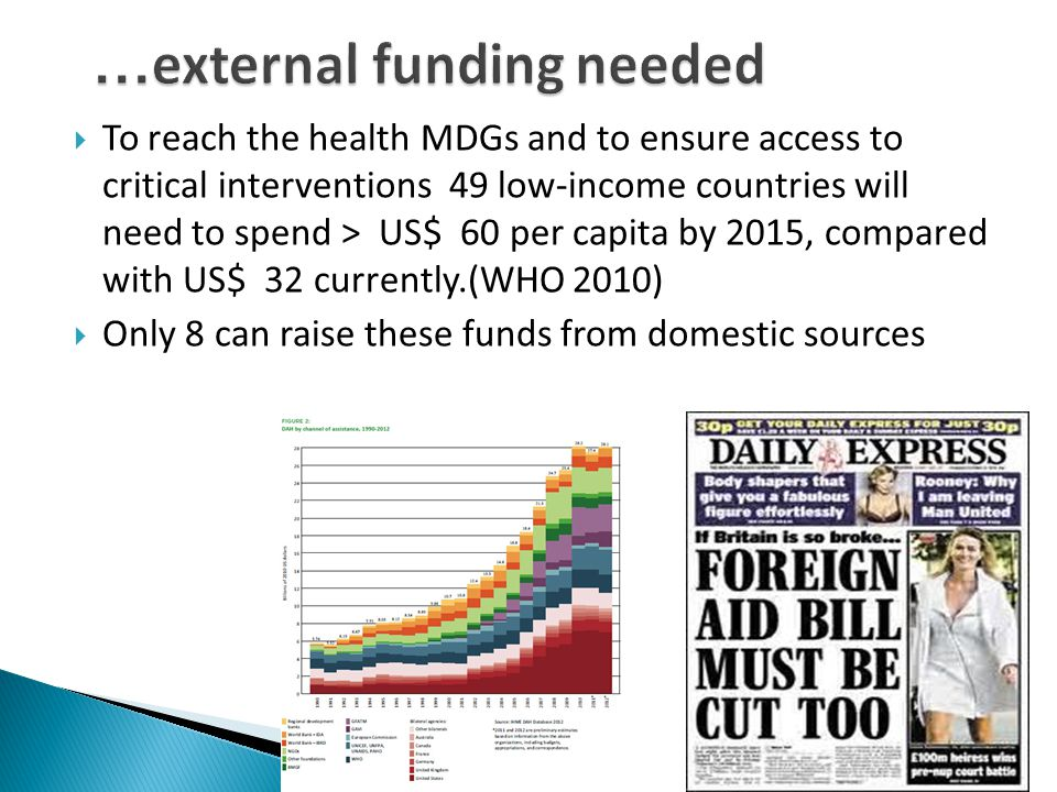 To reach the health MDGs and to ensure access to critical interventions 49 low-income countries will need to spend > US$ 60 per capita by 2015, compared with US$ 32 currently.(WHO 2010)  Only 8 can raise these funds from domestic sources