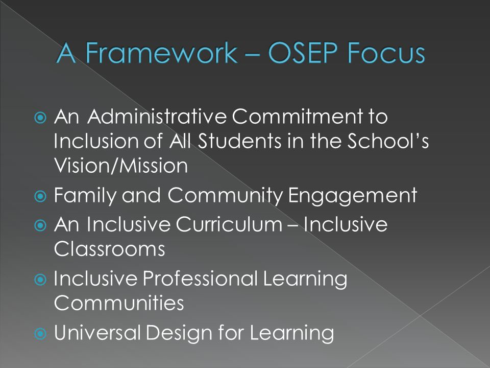  An Administrative Commitment to Inclusion of All Students in the School's Vision/Mission  Family and Community Engagement  An Inclusive Curriculum – Inclusive Classrooms  Inclusive Professional Learning Communities  Universal Design for Learning