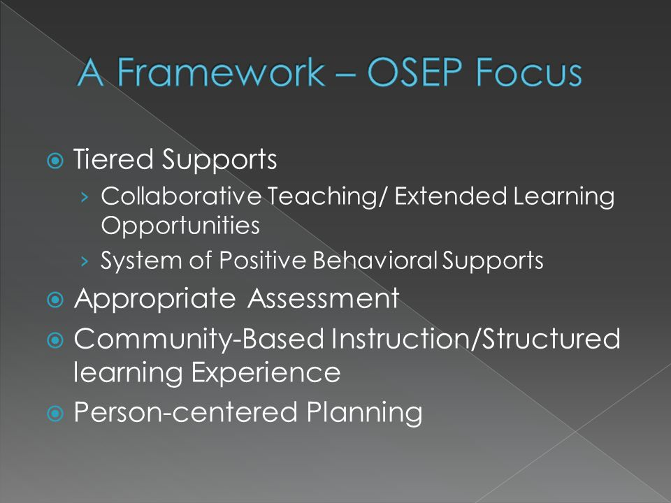  Tiered Supports › Collaborative Teaching/ Extended Learning Opportunities › System of Positive Behavioral Supports  Appropriate Assessment  Community-Based Instruction/Structured learning Experience  Person-centered Planning